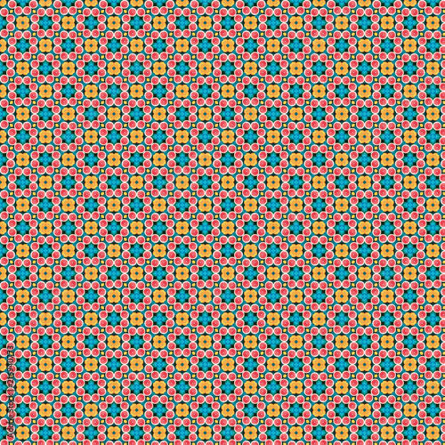 Abstract colorful geometric pattern. Blood orange or grapefruit in orange, red, turquoise, light blue - 216940773