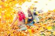 Quadro child in autumn have fun