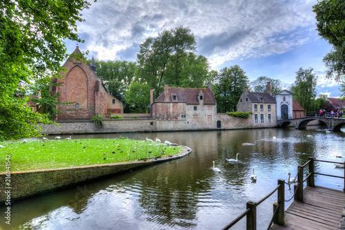 Foto Spatwand Brugge Lake of Love and Beguinage, Bruges, Belgium