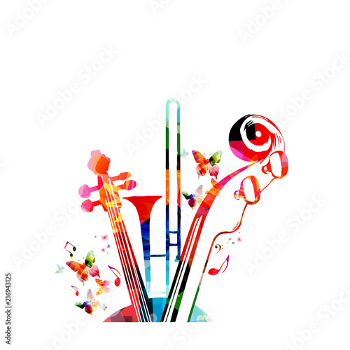 Music colorful background with music notes, trumpet and violoncelo pegbox and scroll vector illustration design. Music festival poster, live concert, creative cello neck design © abstract
