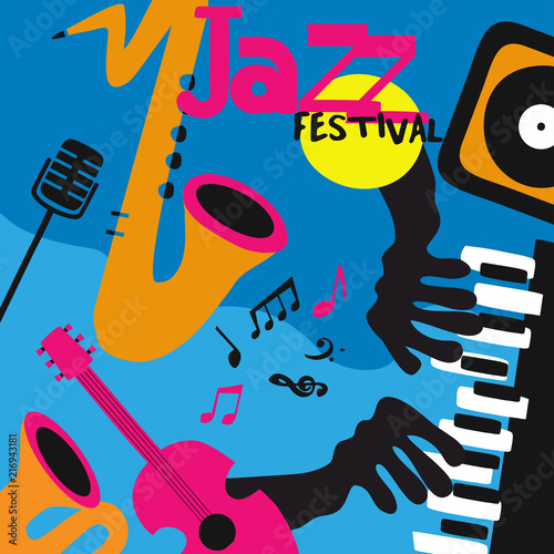 Jazz music background poster with music instruments. Saxophone, guitar, piano, microphone and gramophone flat vector illustration design for music festival, live concert, party, music event © abstract