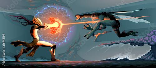 Foto Spatwand Kinderkamer Battle between magician elf and reptilian monster