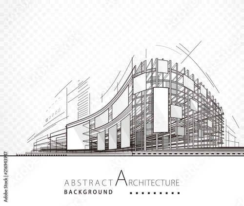 Architektura abstrakcjonistyczny czarny i biały budynku projekta tło.