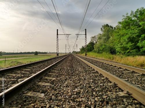 Foto Spatwand Spoorlijn Une voie ferrée.