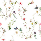 Watercolor painting of leaf and flowers, seamless pattern on white background - 216952915