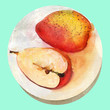 Watercolor cute pear on the plate - 216954524