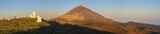 astronomical observatory against the background of a volcano at sunrise - 216954501