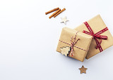 Gift Boxes and Christmas Decorations on white background. Symbolic image. Flatlay. Copy space - 216955161