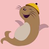seal animal cartoon,vector drawing
