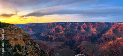Aluminium Arizona Sunset above south rim of Grand Canyon from the Mather Point