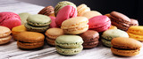 Sweet and colourful french macaroons or macaron on white backgro - 216956786