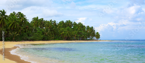 Caribbean sea and clouds sky . Travel background. - 216957587