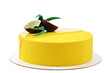 Yellow tropical mousse cake isolated on white