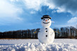 Funny snowman in stylish black hat on snowy field. Merry Christmass and happy New Year!