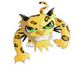 vector,animal, leopard, grin, cartoon, cat, illustration, sun, yellow, tiger, orange - 216972371