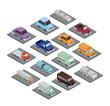 set cars isometrics proy icon vector illustration design