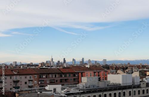 Foto Spatwand Chocoladebruin Paesaggio case di Milano