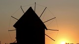 Old windmill silhouette sunset Nessebar Bulgaria - 216976522