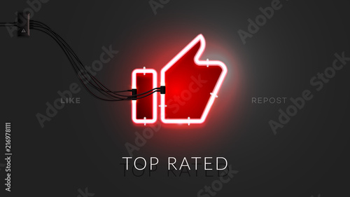 3d Neon Thumbs Up Sign. Realistic Vector Banner For Social Media Design With Lighting Red Neon Tube On Black Background. Conceptual Vector Illustration