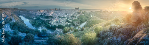 Panorama view of Toledo and Tagus River, Spain