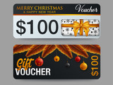 Christmas design of double side of gift voucher
