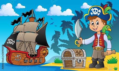 Canvas Voor kinderen Pirate boy topic image 2