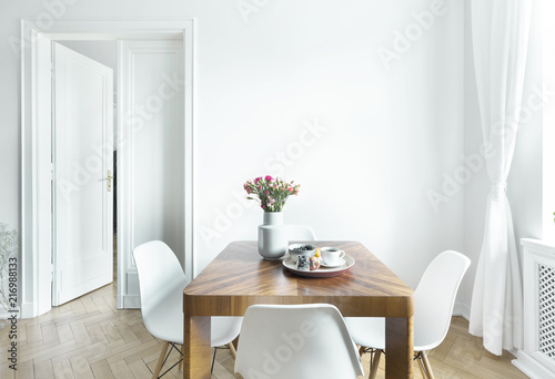 Leinwanddruck Bild Dining table with fresh flowers and breakfast tray with coffee cup and fruits in real photo of white room interior with empty wall. Paste your painting here