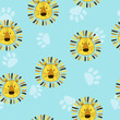Seamless childish pattern with cute lion heads and paws.