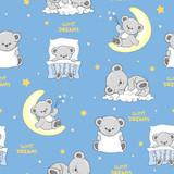 Seamless pattern with cute sleeping Teddy Bears. - 216990377