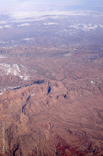 Foto Murales Mountain landscape, aerial view. Earth surface. Environment protection and ecology. Wanderlust and travel. Focus on earth for your future