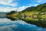 View of  Etnefjorden near Etne in Hordaland county, Norway. - 216993524