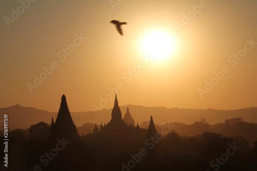 Canvas Zonsopgang Sonnenaufgang Bagan Myanmar