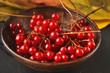 Leinwanddruck Bild - Ripe red berries of a viburnum in a plate