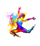 Dancing girl with color splashes on white background. Vector illustration