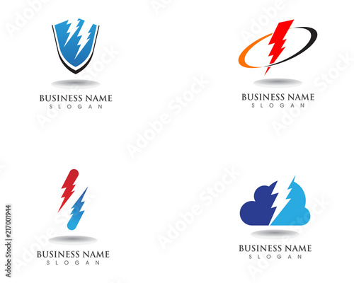 lightning thunderbolt electricity vector logo design