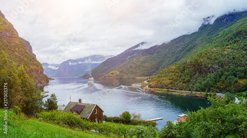 Amazing nature view with Sognefjord and mountains. - 217003374