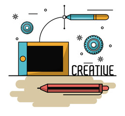 Creative colors and ideas with graphic design elements cartoons vector illustration