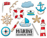 Marine nautical travel icons set. Colorful hand drawn doodle objects. Vector illustrator.