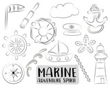 Marine nautical travel icons set. Black and white  hand drawn outline doodle objects. Coloring page kids game. Vector illustrator.