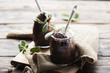 Leinwanddruck Bild - Sweet chocolate ice cream with sage