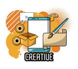Creative ideas and colors with graphic design elements cartoons vector illustration graphic design - 217006710