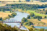 Bridge on the Weser river in Germany. A beautiful view from the monument of Prince Wilhelm in Porta Westfalica.