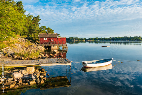 Leinwanddruck Bild Schärengarten an der schwedischen Küste vor Stockholm
