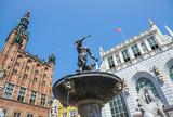 Neptune`s Fountain Statue at Long Market Street. Gdansk city, Poland