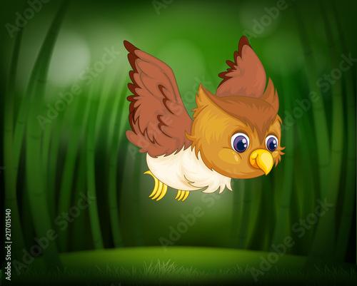 Fotobehang Uilen cartoon Baby owl flying through a forest