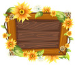 Wooden frame with flower - 217015355