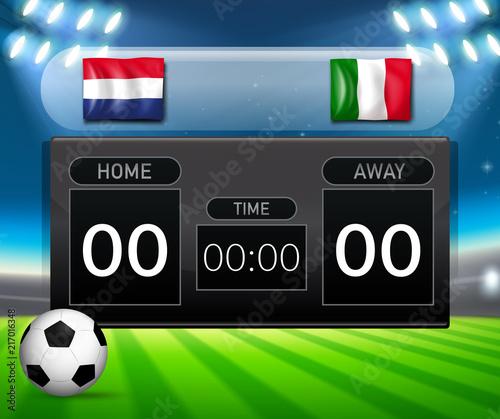 Fotobehang Kids netherlands vs italy score board