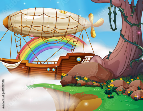 Fotobehang Kids Fantasy blimp and boat scene