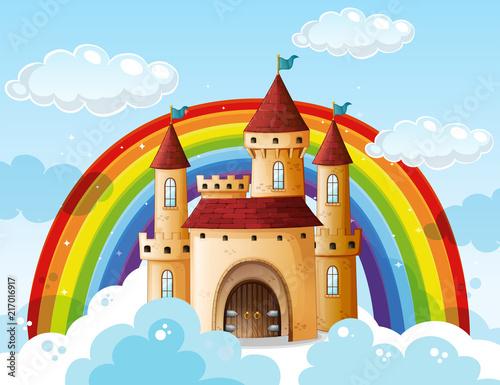 Fotobehang Kids A beautiful castle on the cloud