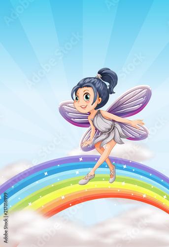 Fotobehang Kids Fairy on a rainbow